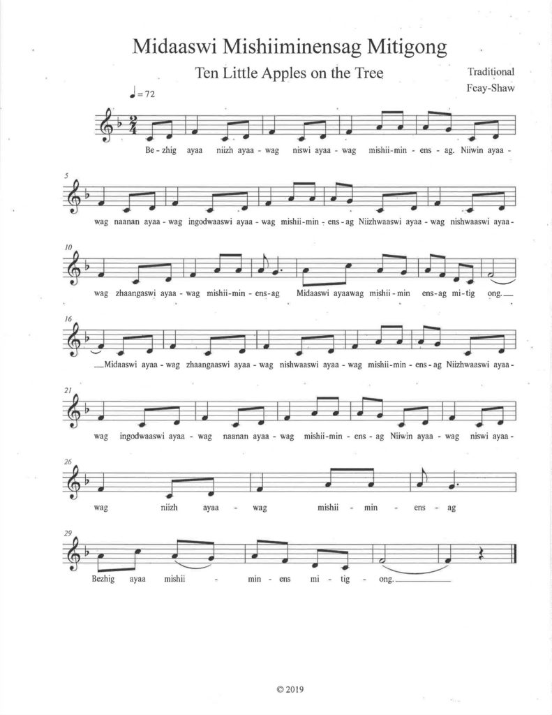 Sheet music for Ten Little Apples song